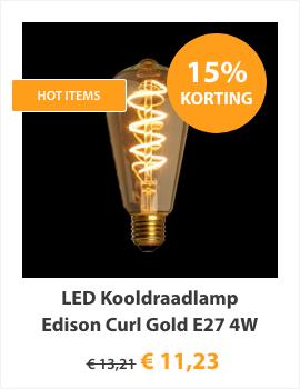 LED Kooldraadlamp Edison Curl Gold E27